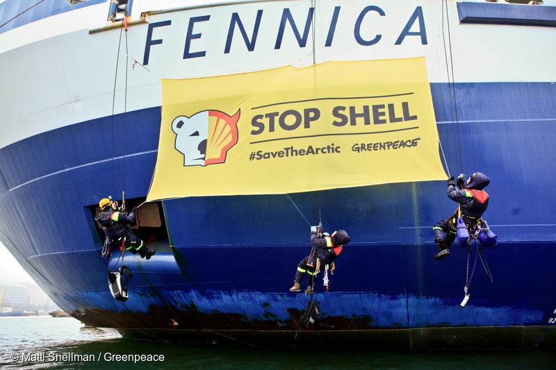 "Greenpeace activists board the ice breakers Fennica and Nordica in Helsinki. The activists protest against Shell's Arctic oil drilling plans by dropping banners reading ""Save the Arctic. Stop Shell"". The government owned company Arctia Shipping has contracted the ice breakers to support Shell's drilling for the drilling seasons 2012-2014."