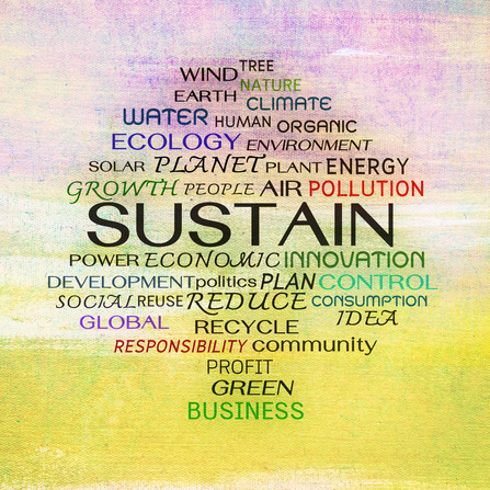 Sustain word clouds on painting background